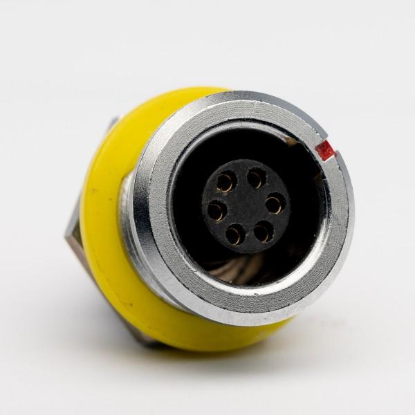 Lemo RG 1.B 6-pole Receptacle, yellow marking / isolation ring, USED