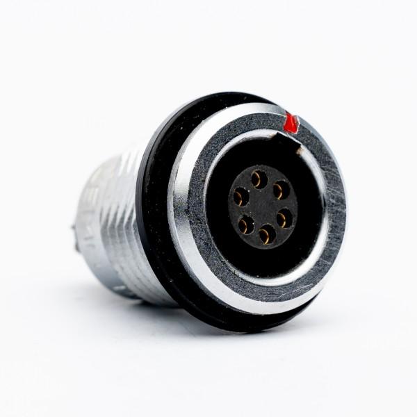 Lemo RG 1.B 6-pole Receptacle, black marking / isolation ring, USED